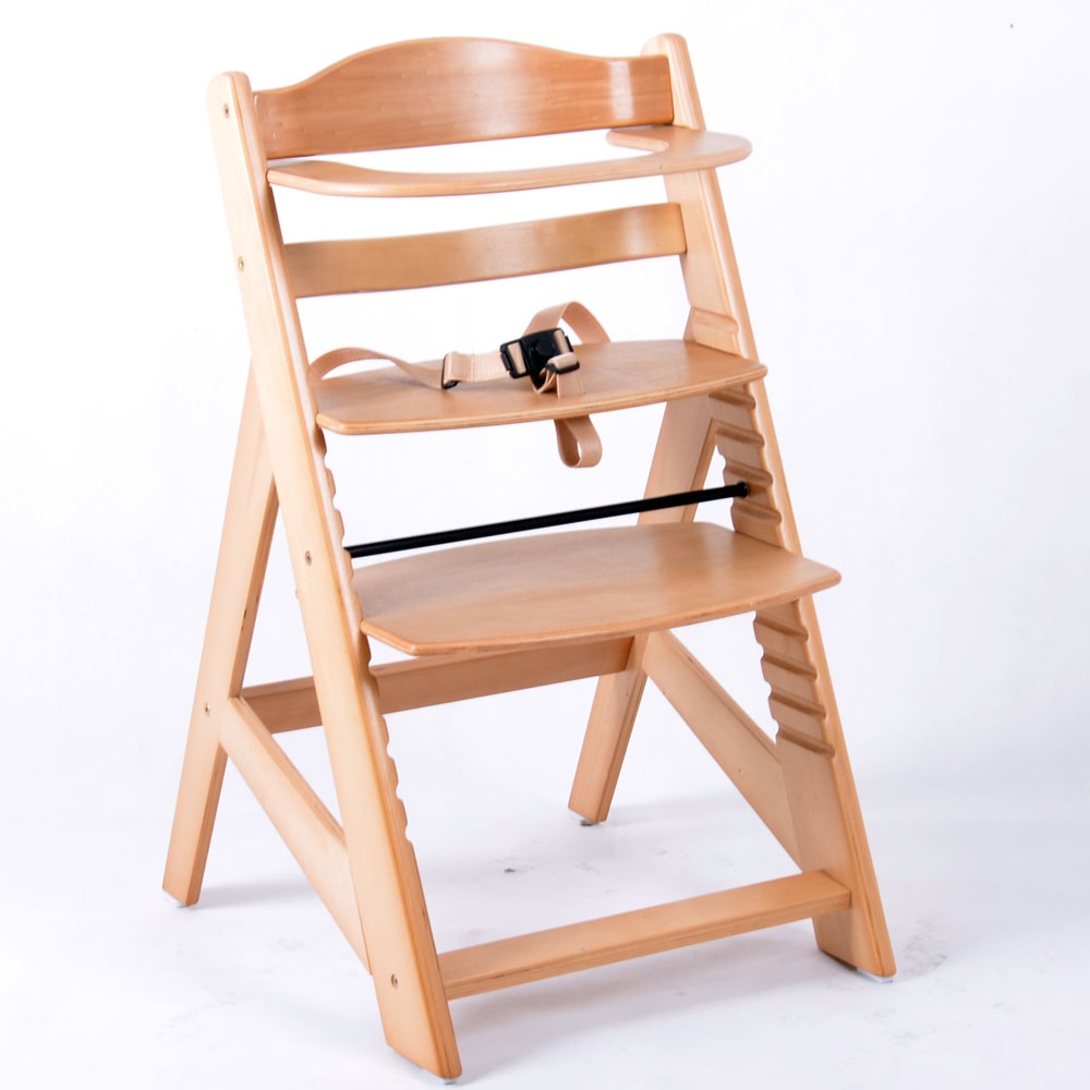 Chaise haute en bois ajustable chaise b b escalier chaise for Chaise bebe de table